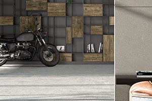 Industrial Style Polished Concrete and Motorbike Decoration