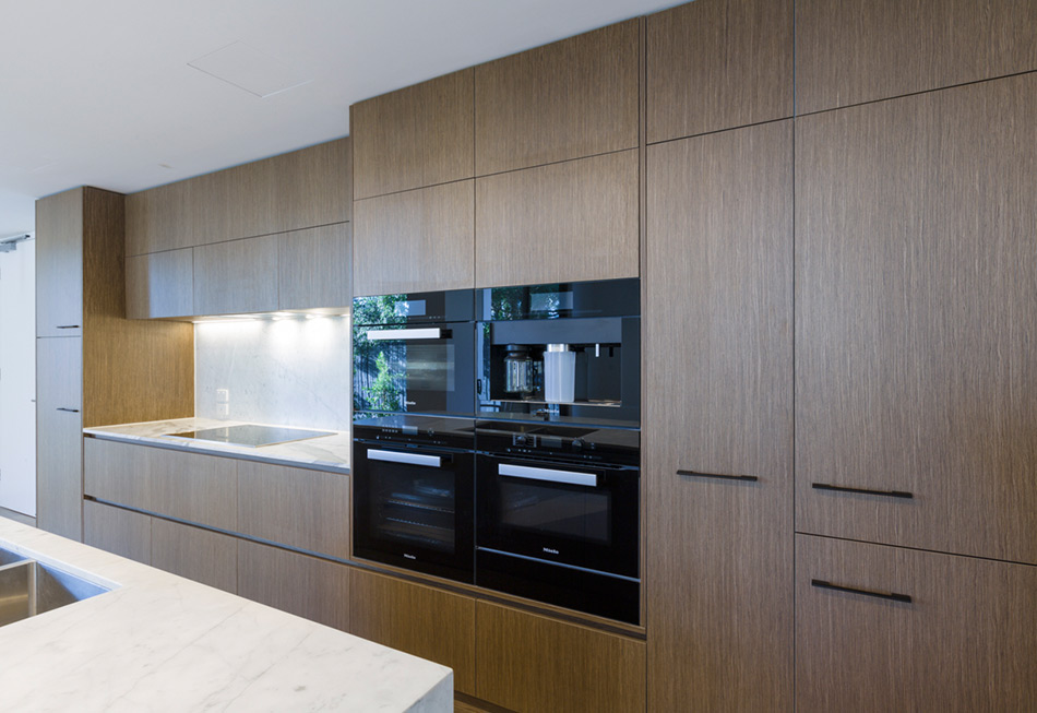A Modern Kitchen Renovation with Miele Built In Coffee Machine Oven and Steam Oven