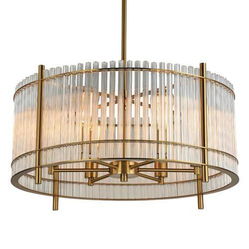 American Opulence Soft Brass & Glass Bar Pendant