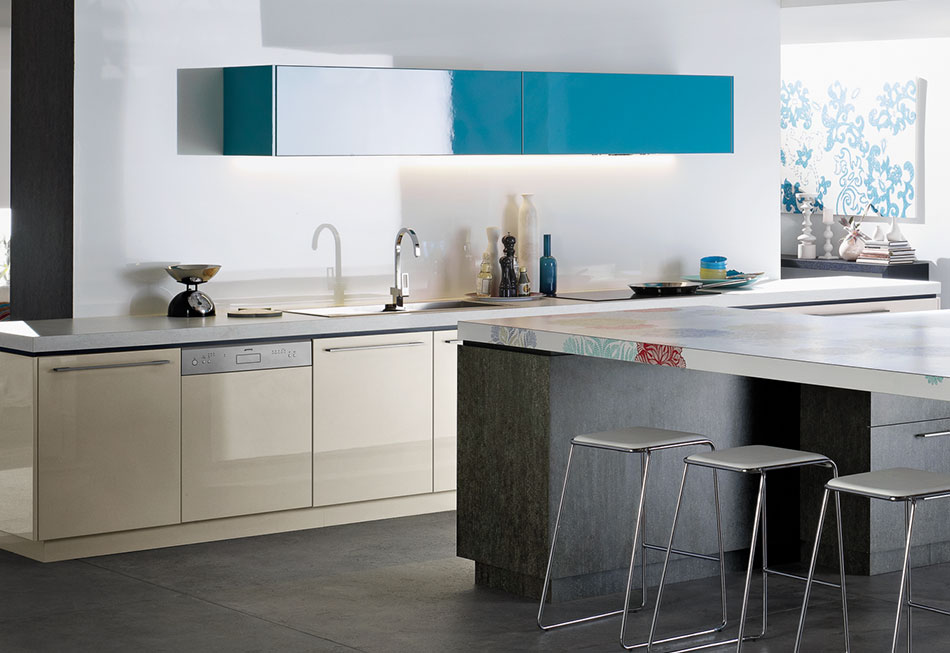Modern Blue Overhead Kitchen Cabinet