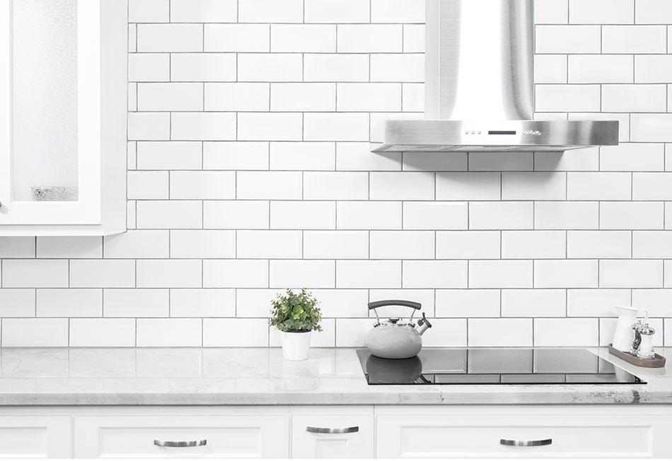 Kitchen With Subway Tiles Splashback in Victoria