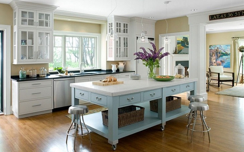 Moveable Hamptons Kitchen Island Benches